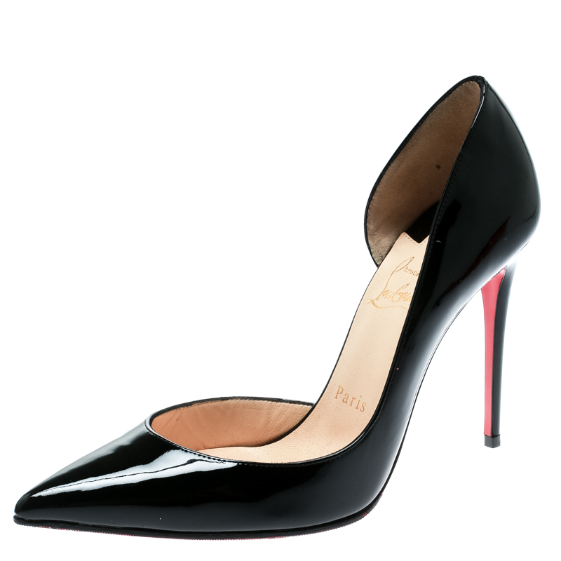 2e17fb039a7e ... Christian Louboutin Black Patent Leather Iriza D orsay Pointed Toe Pumps  Size 37.5. nextprev. prevnext