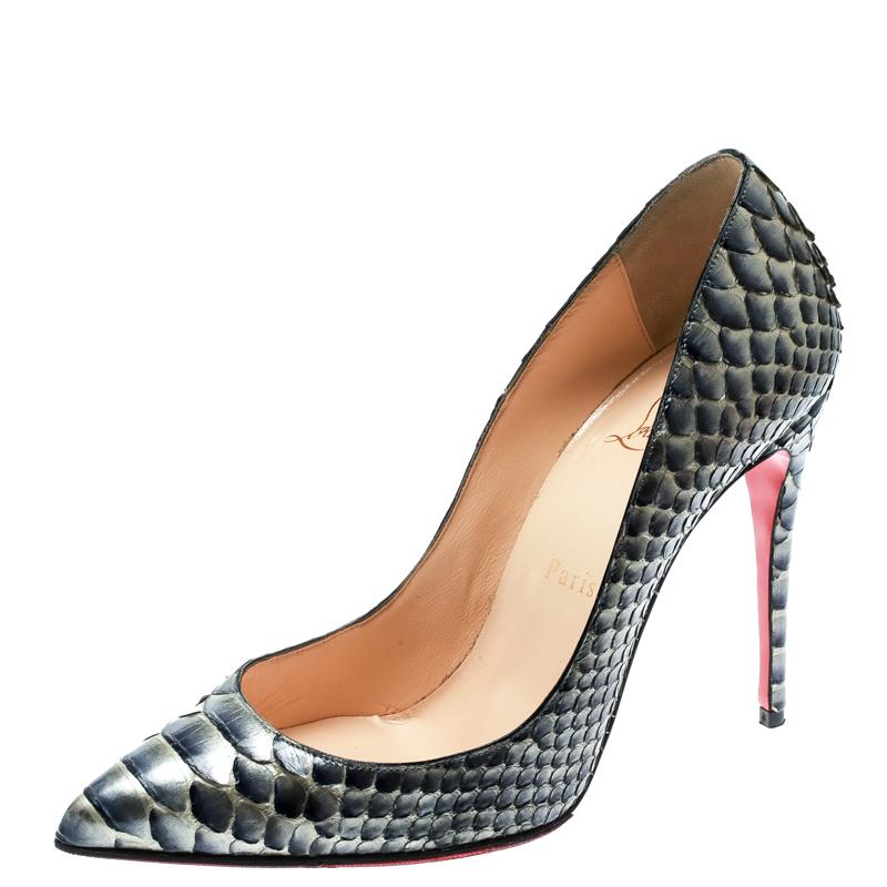 cebad8fc948 Buy Christian Louboutin Metallic Blue Grey Python Leather So Kate ...