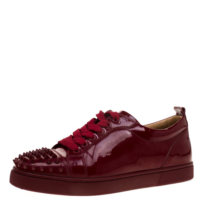 the best attitude d89c3 14eef Christian Louboutin Burgundy Patent Leather Louis Junior Spikes Sneakers  Size 38.5