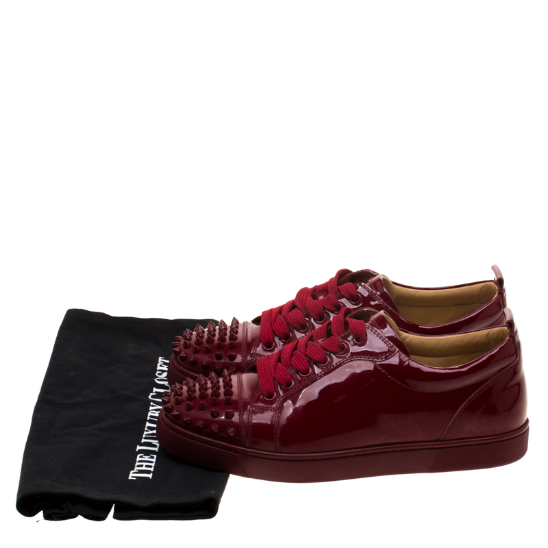 the best attitude 7bba7 60368 Christian Louboutin Burgundy Patent Leather Louis Junior Spikes Sneakers  Size 38.5