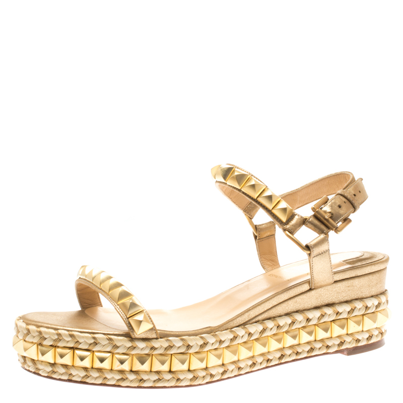 74812826e93 Christian Louboutin Metallic Gold Studded Leather Cataclou Espadrille Wedge  Sandals Size 37