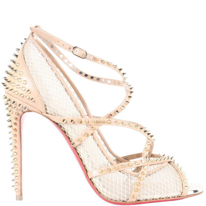 newest collection 28178 a6051 Christian Louboutin Beige Leather and Mesh Spike Strappy Sandals Size 37