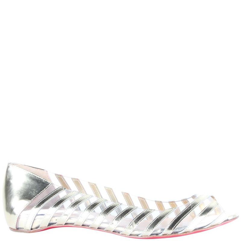magasin d'usine 3b796 a1d03 Christian Louboutin Silver Metallic Leather Transparent Peep Toe Ballet  Flats Size 37