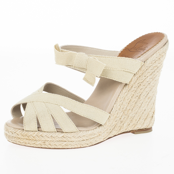 2ae69b8b4a1 Buy Christian Louboutin Delphin 120mm Espadrille Wedge Slides Size 36 18940  at best price