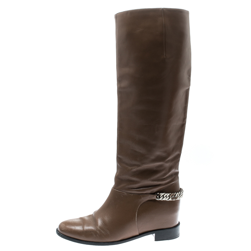huge inventory 16cb6 27b47 Christian Louboutin Beige Leather Cate Knee Length Boots Size 39