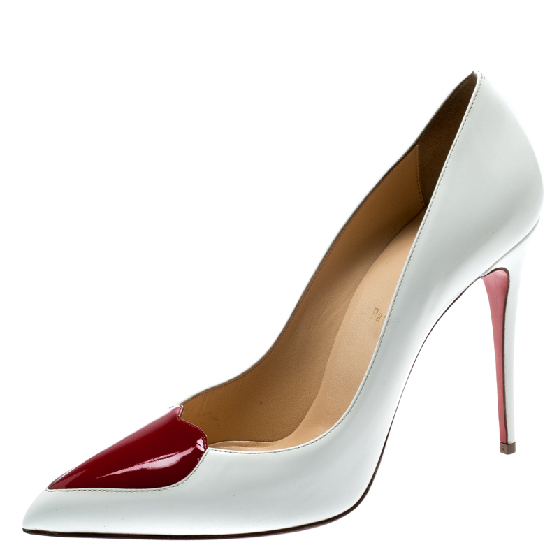 cfe4a33c6a30 ... Christian Louboutin White Patent Leather Doracora Red Heart Pumps Size  39.5. nextprev. prevnext