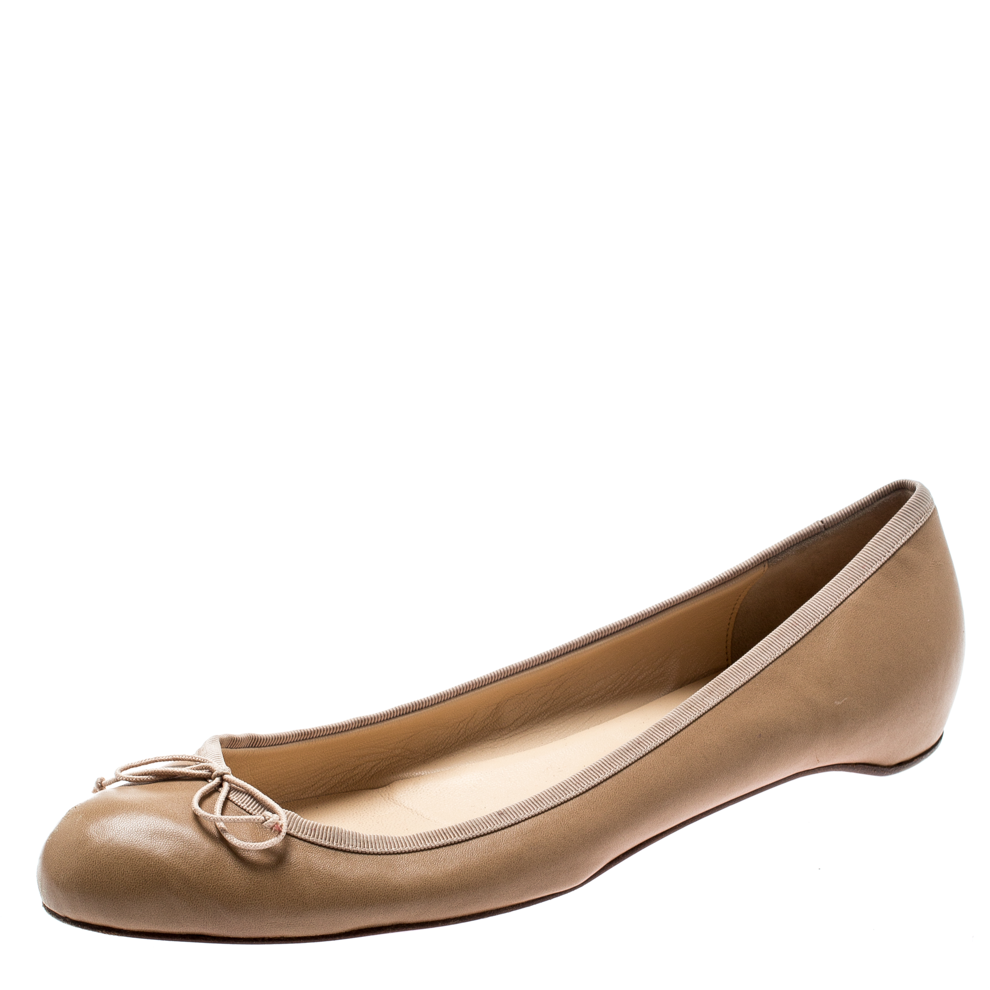 971bb675ef3 Christian Louboutin Beige Leather Bow Ballet Flats Size 40.5
