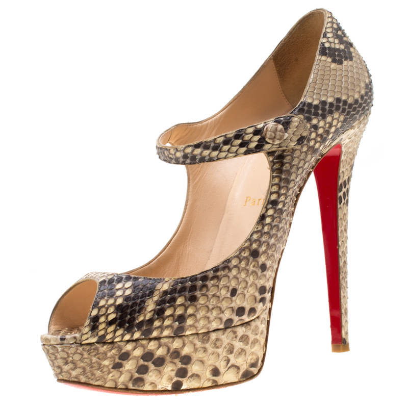 best website e79d1 19384 Christian Louboutin Two Tone Python Leather Lowa Zeppa Peep Toe Mary Jane  Pumps Size 40.5