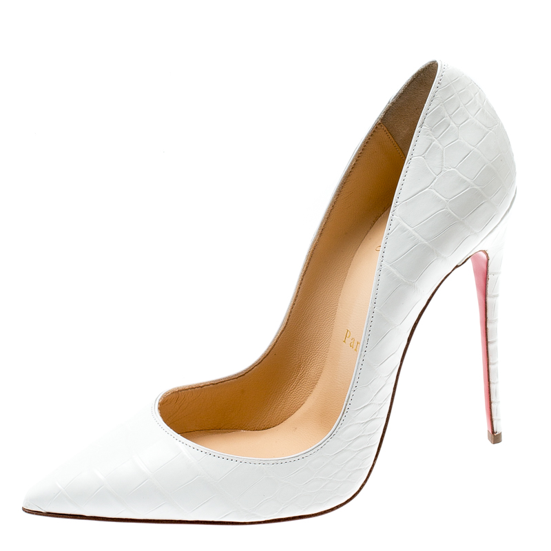 finest selection db016 5c048 Christian Louboutin White Crocodile Leather So Kate Pointed Toe Pumps Size  38.5
