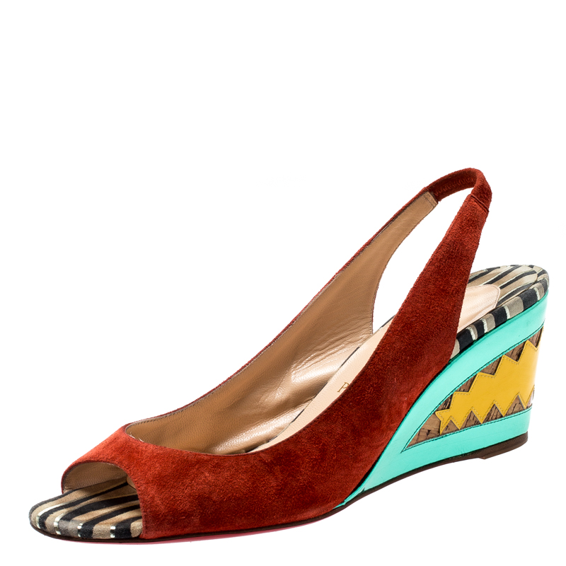 new arrival 52267 e9217 Christian Louboutin Multicolor Suede and Mirror Leather Miramar Open Toe  Slingback Sandals Size 39