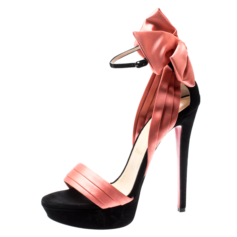 pretty nice b14bf e568c Christian Louboutin Coral/Black Suede And Satin Bow Vampanodo Ankle Strap  Sandals Size 39