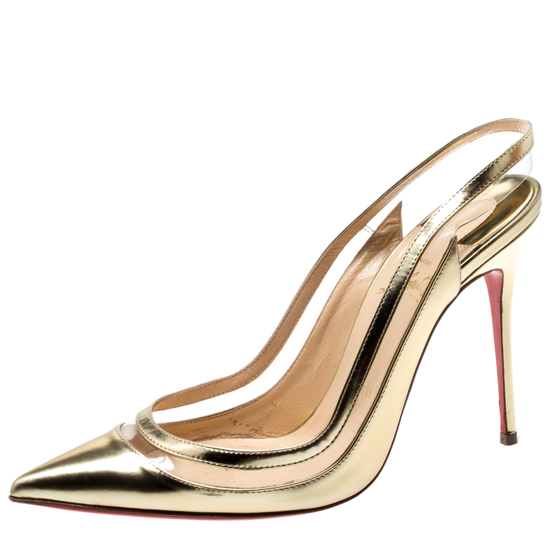 the best attitude d60a7 b263f Christian Louboutin Metallic Gold Leather And PVC Paulina Pointed Toe  Slingback Sandals Size 38