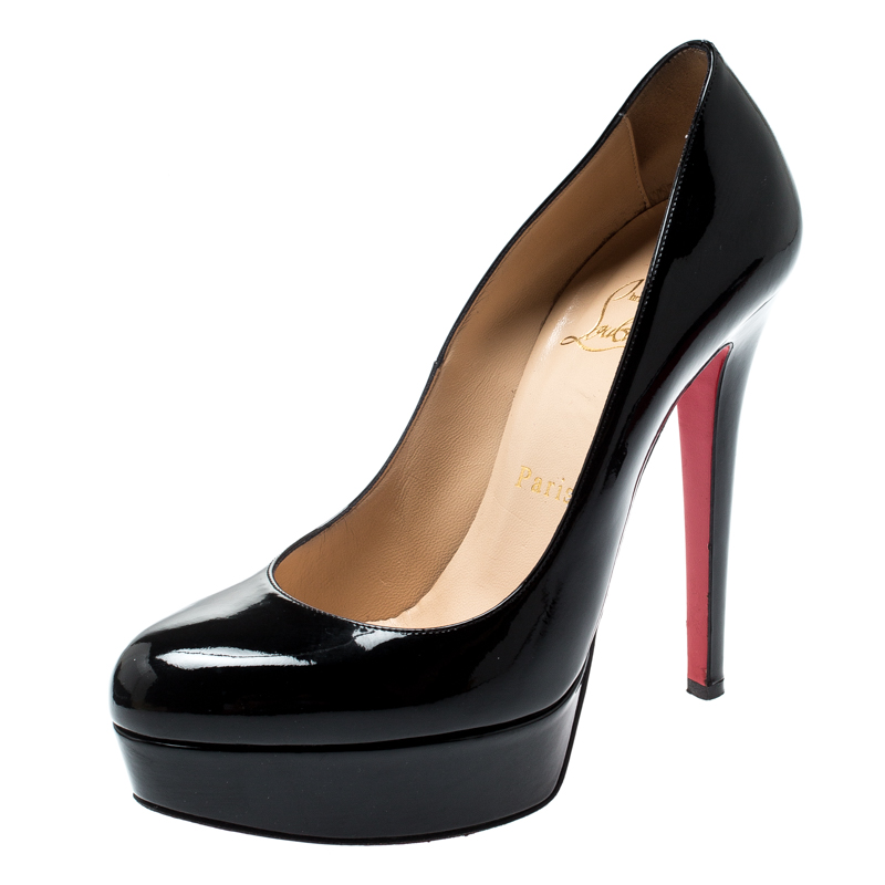 official photos b76bc 8a4c7 Christian Louboutin Black Patent Leather Bianca Platform Pumps Size 37