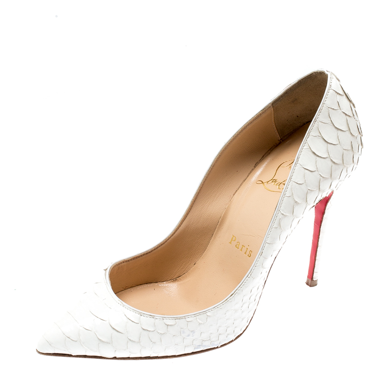 online store 51cea d32d4 Christian Louboutin White Python Leather So Kate Pointed Toe Pumps Size 35.5