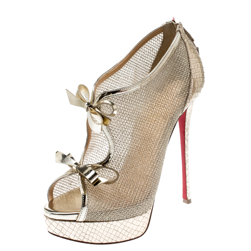new style 220d7 575fd Christian Louboutin Metallic Gold Leather And Mesh Empiralta Bow Open Toe  Ankle Booties Size 39