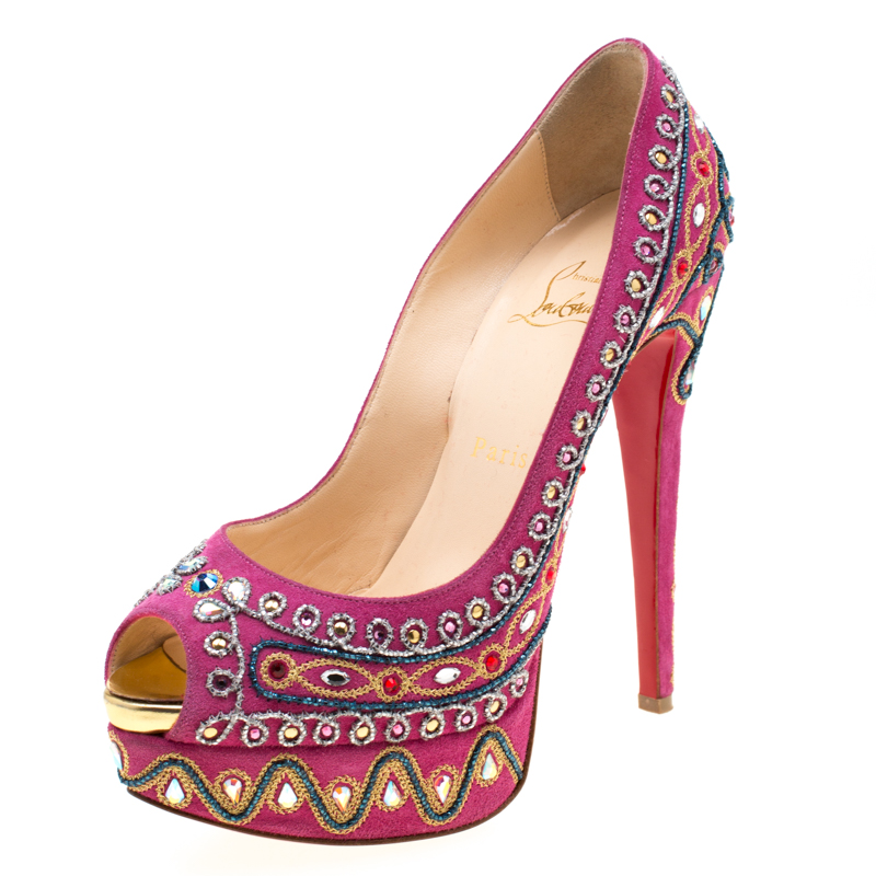 best service c91b0 ae7b1 Christian Louboutin Pink Embroidered Suede Peep Toe Platform Pumps Size 38