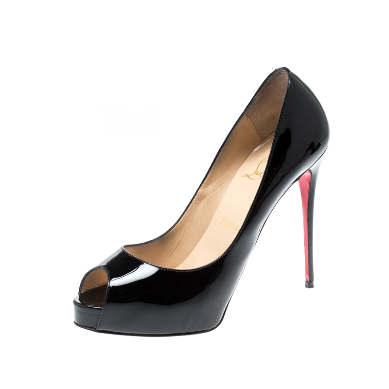 the latest a099f 88bf2 Christian Louboutin Black Patent Leather Lady Peep Toe Platform Pumps Size  38.5