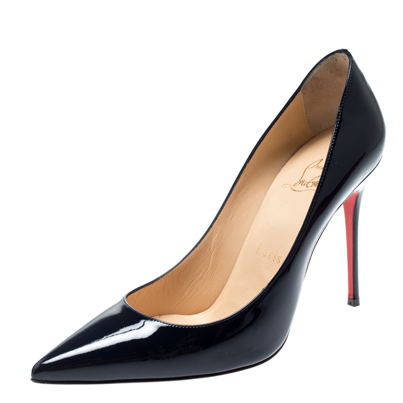 newest 8c0ab a0cc2 Christian Louboutin Navy Blue Patent Leather Decollete 554 Pointed Toe  Pumps Size 37