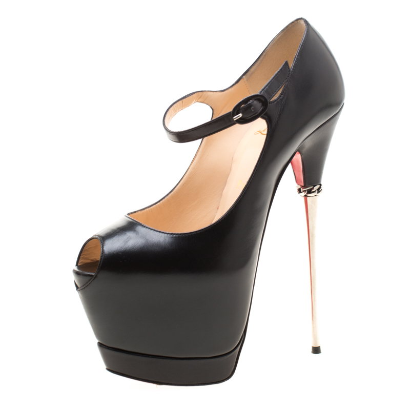 f8f0eb43324 Christian Louboutin Black Leather Lady Highness Daf Peep Toe Mary Jane  Pumps Size 38.5