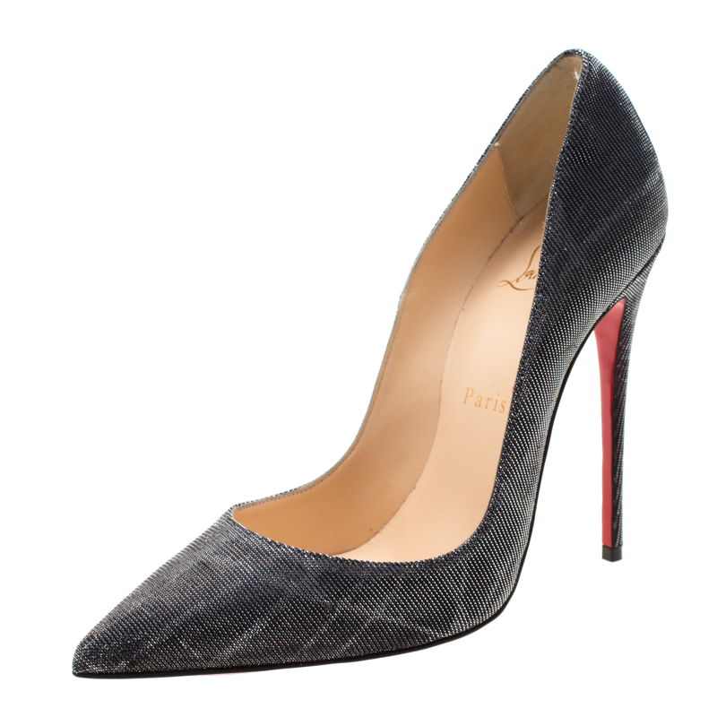separation shoes fc8a0 01de2 Christian Louboutin Metallic Grey Glitter Fabric Pigalle Pointed Toe Pumps  Size 37