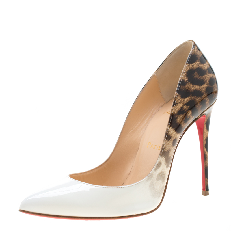 684e7dab907 Christian Louboutin White And Leopard Print Patent Leather Pigalle Follies  Pumps Size 36.5
