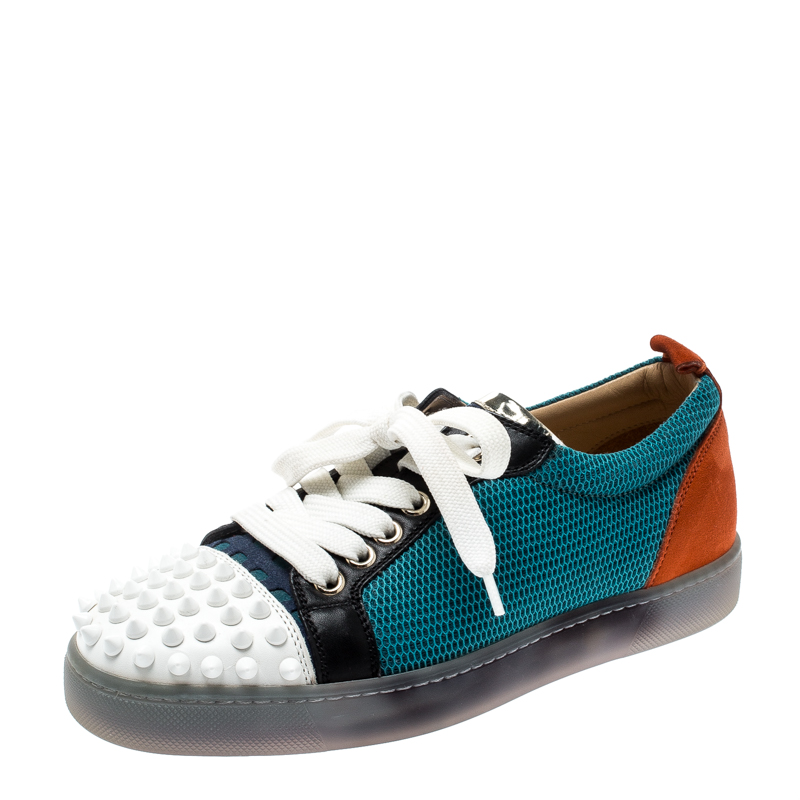 brand new 0c432 d8e8b Christian Louboutin Multicolor Mesh And Leather AC Viera Spiked Orlato Low  Top Sneakers 35