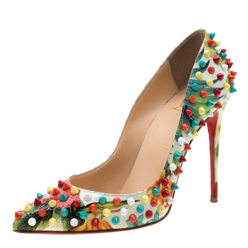 on sale 29659 160c1 Christian Louboutin Multicolor Floral Crackled Leather Hawaiian Follies  Spike Embellished Pointed Toe Pumps Size 37.5