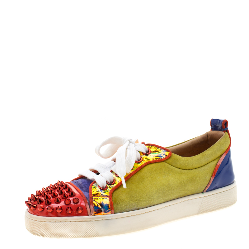 check out 2d935 71ddc Christian Louboutin Multicolor Suede And Patent Leather Louis Junior Spikes  Sneakers Size 35