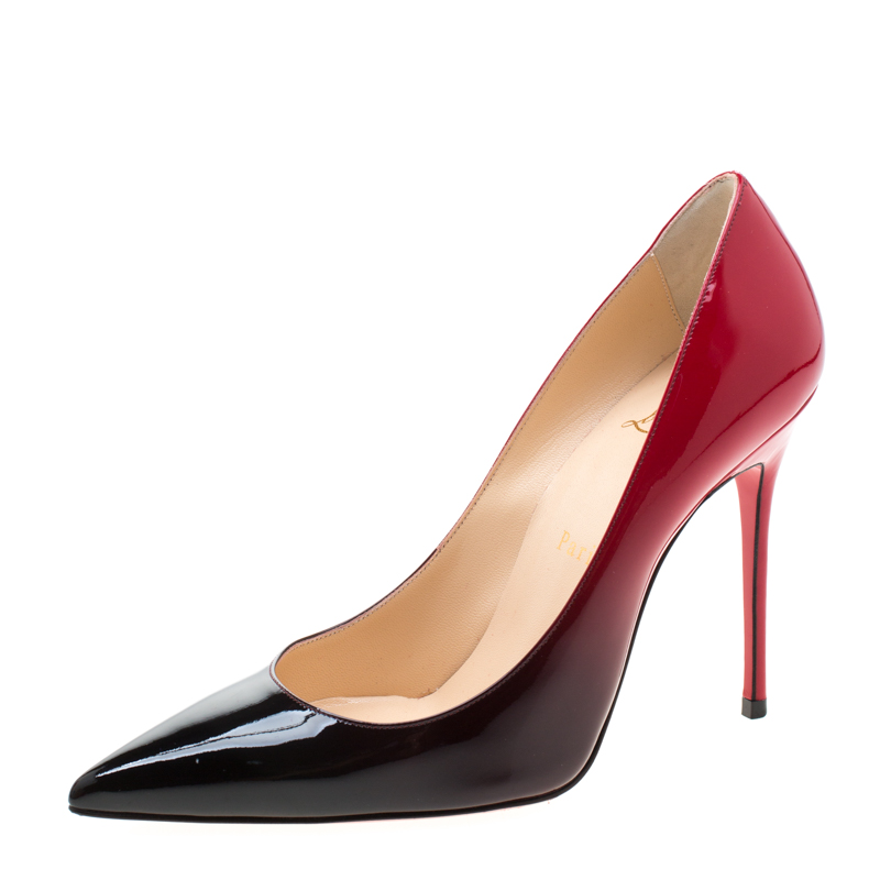 uk availability ef1e3 c4b19 Christian Louboutin Red/Black Degradè Patent Leather Decollete 554 Pointed  Toe Pumps Size 37