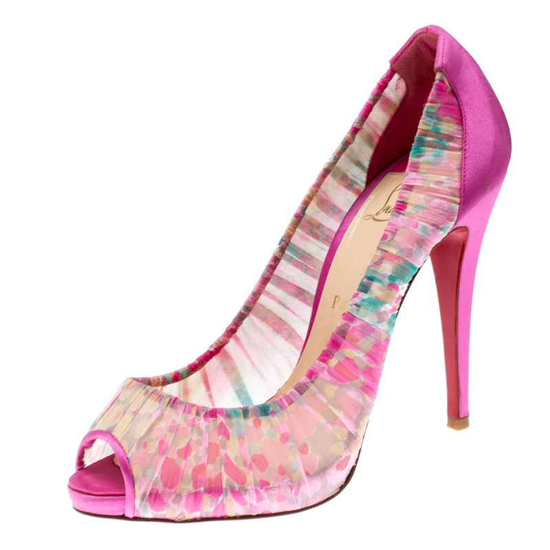 more photos f7bbf a69aa Christian Louboutin Pink Floral Crepe Satin Zeppa Peep Toe Pumps Size 40