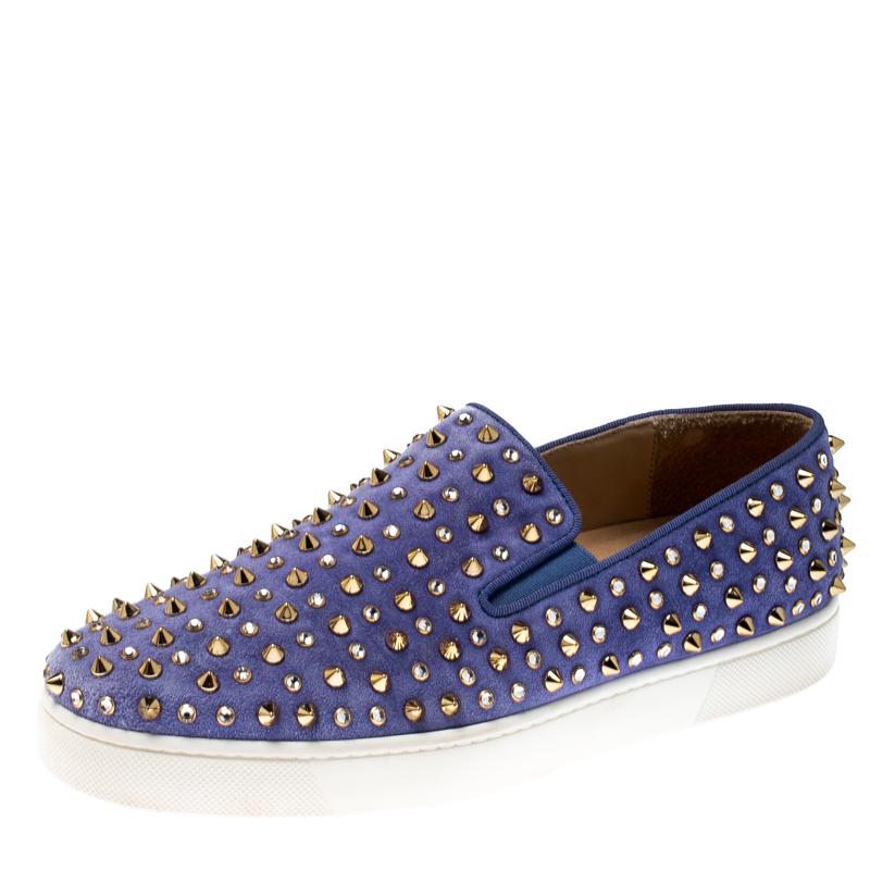 size 40 47d44 cae98 Christian Louboutin Blue Suede Roller Boat Spiked Slip On Sneakers Size 38.5