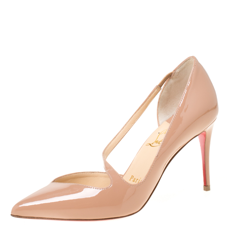 new style c4bee b8141 Christian Louboutin Beige Patent Leather Jumping Cross Strap Pumps Size 35.5