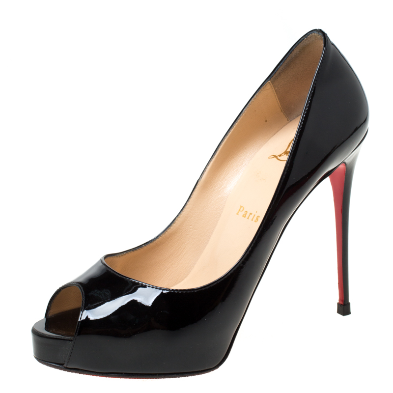 wholesale dealer abab2 94281 Christian Louboutin Black Patent Leather New Very Prive Peep Toe Pumps Size  38.5