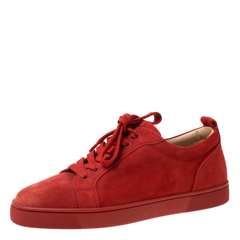 cheap for discount 685b6 b9b0b Christian Louboutin Red Suede Lace Up Sneakers Size 39.5