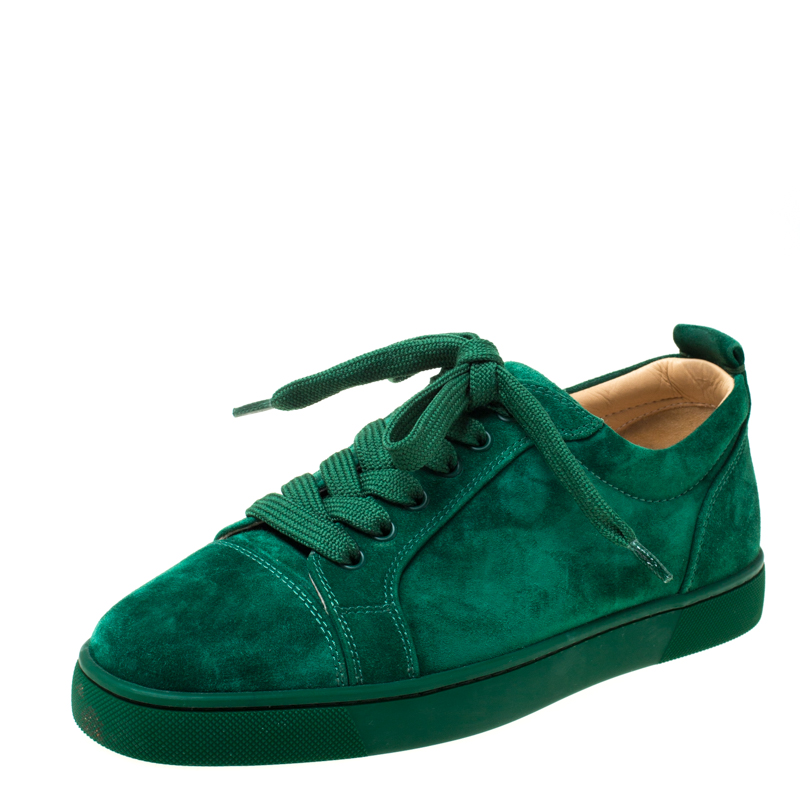 check out 2a85d 5d321 Christian Louboutin Green Suede Orlato Lace Up Sneakers Size 40