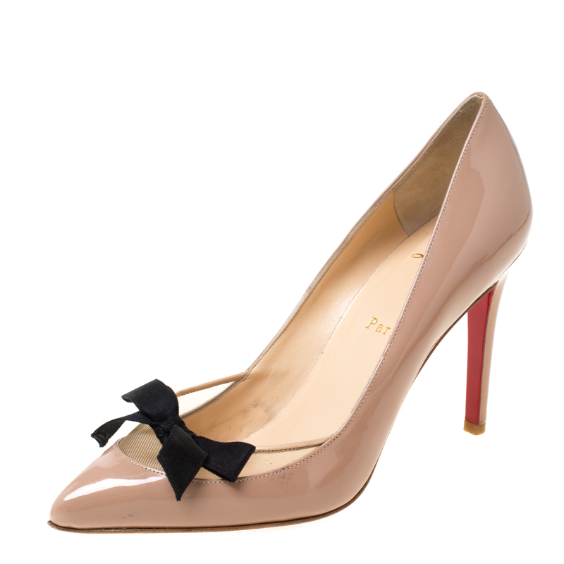 half off 15e23 0c060 Christian Louboutin Beige Patent Leather And Mesh Bow Pointed Toe Pumps  Size 37.5
