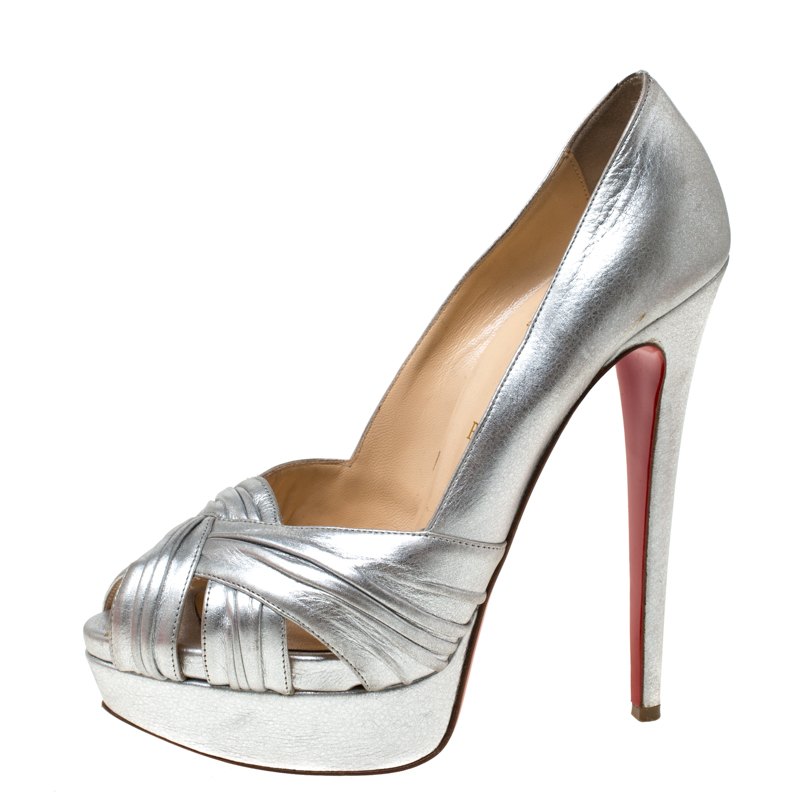 check out c8094 099e7 Christian Louboutin Silver Leather Criss Cross Peep Toe Platform Pumps Size  39