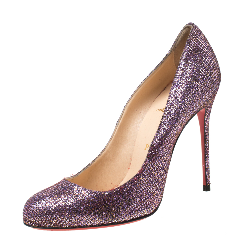 Christian Louboutin Lavender Glitter Mini Simple 85 Pumps Size 38