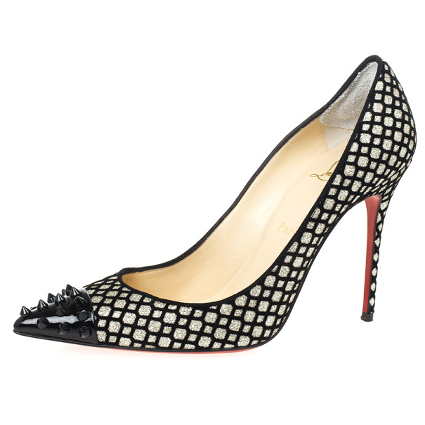 finest selection 5e931 ed10c Christian Louboutin Floque Glitter Spike Geo 100mm Pumps Size 39.5