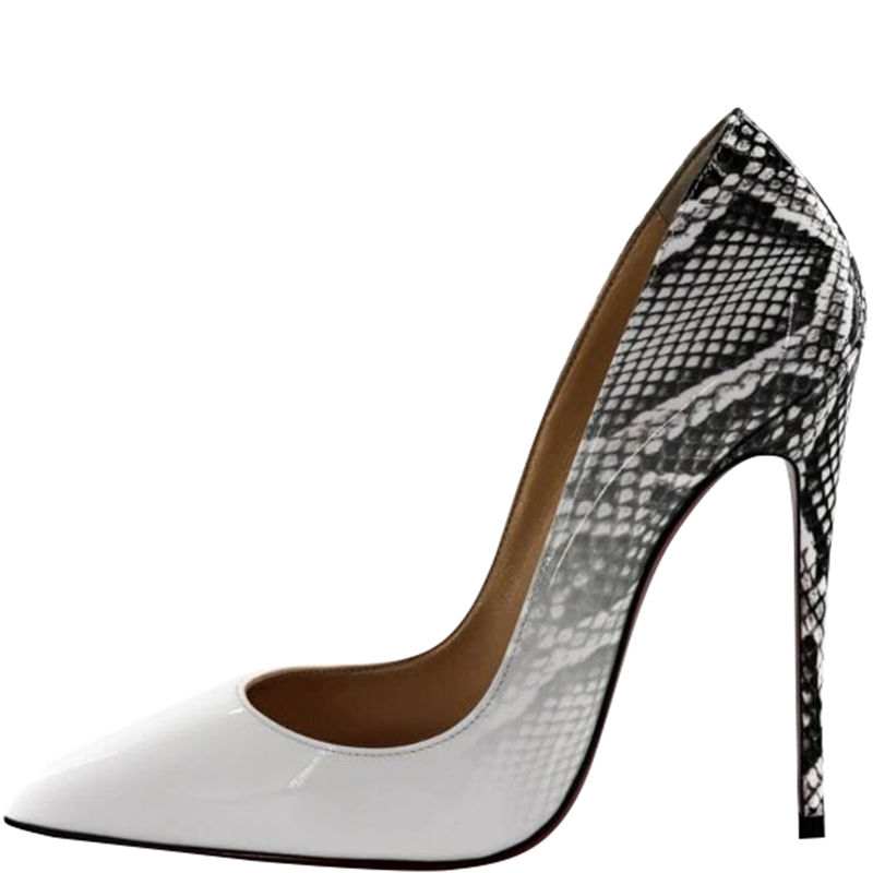 d031a24025d Christian Louboutin White Roccia Snakeskin Print Patent Leather So Kate  Pumps Size 37