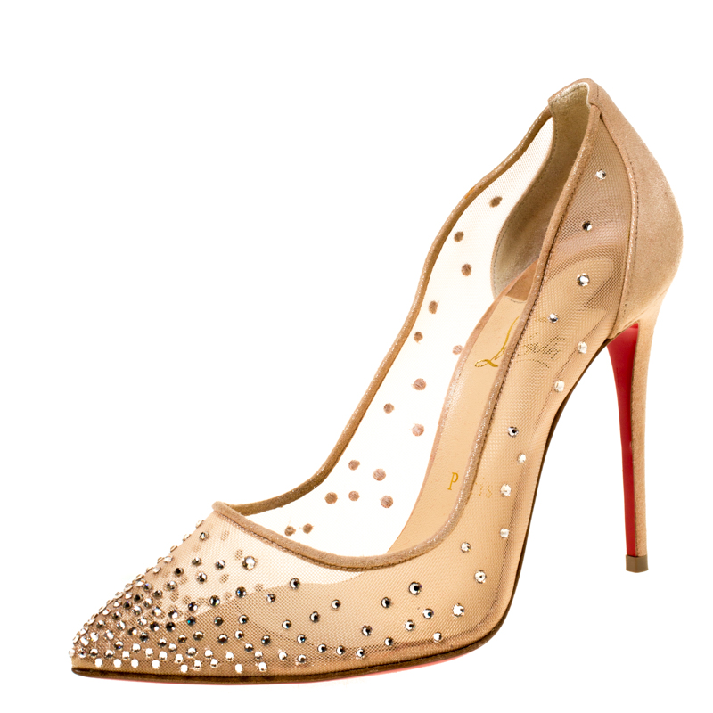 newest 1b7ad f0f2b Christian Louboutin Beige Crystal Embellished Mesh Follies Strass Pointed  Toe Pumps Size 36.5