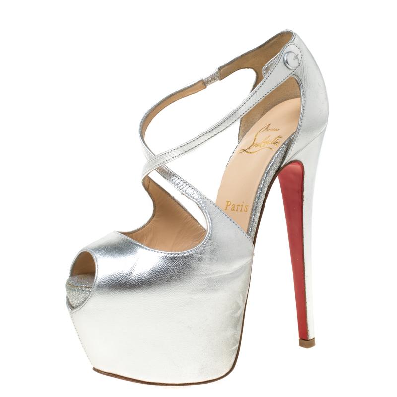 Christian Louboutin Silver Metallic Leather Cross Me Peep Toe Platform Pumps Size 35