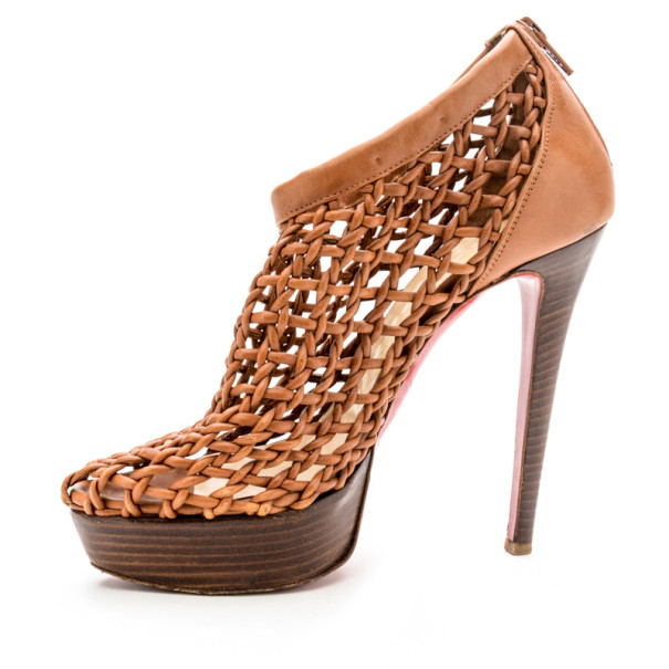 the best attitude ac1f3 a2e11 Christian Louboutin Beige Woven 'Coussin 140mm' Platform Ankle Booties Size  37