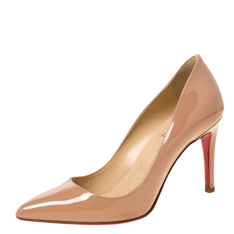 Christian Louboutin Beige Patent Leather Pigalle Pointed Toe Pumps Size 35