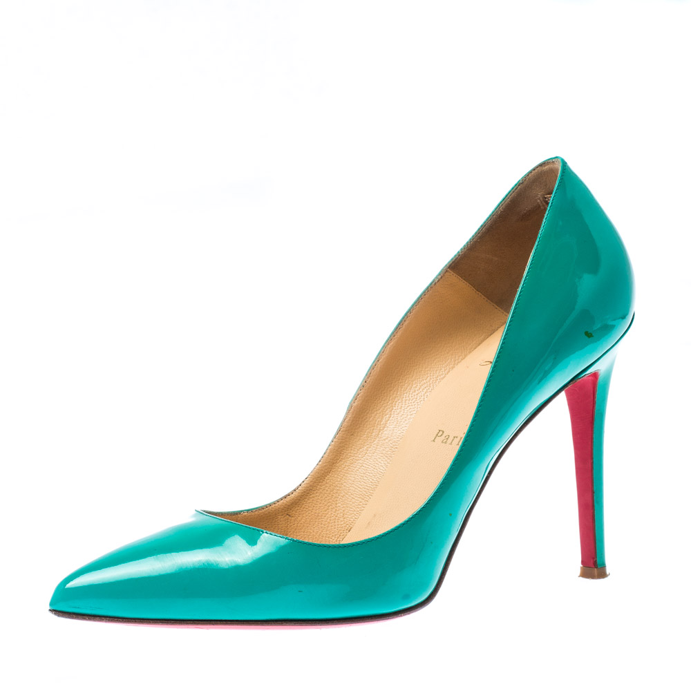 sneakers for cheap 2057f 4c462 Christian Louboutin Green Patent Leather Pigalle Pointed Toe Pumps Size 40