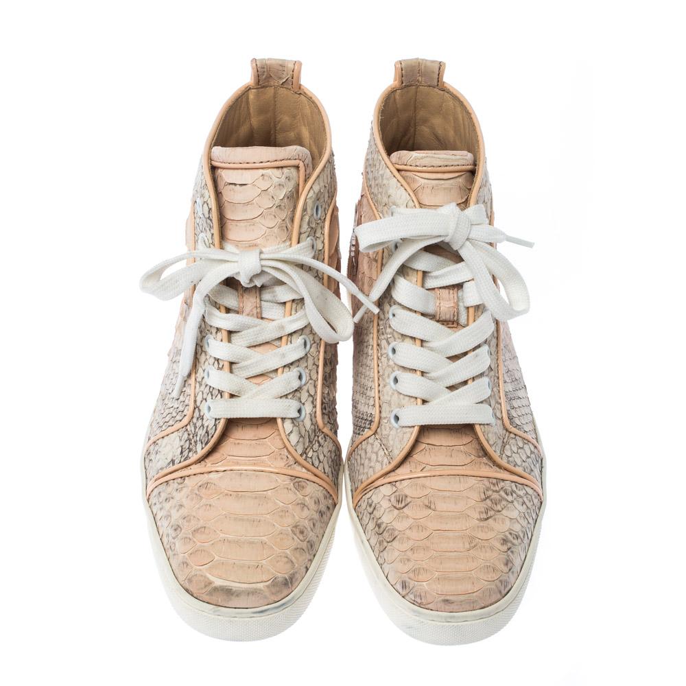 Christian Louboutin Sneakers aus Python Beige Größe 41