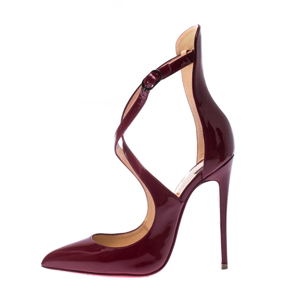 burgundy louboutin heels