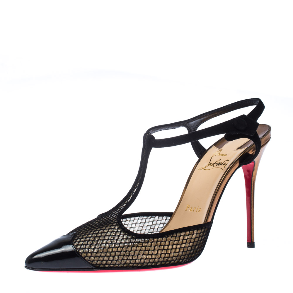Christian Louboutin Black Patent Leather And Lace Mrs Early T Strap Pointed Toe Sandals Size 38.5