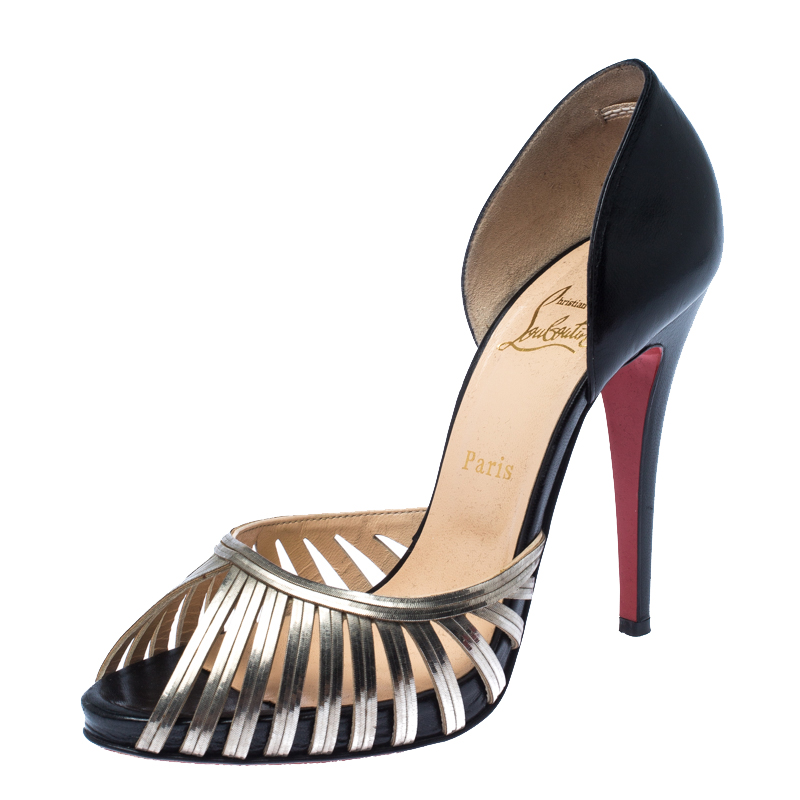 Christian Louboutin Black/Gold Cage Metal And Leather D'Orsay Open Toe Pumps Size