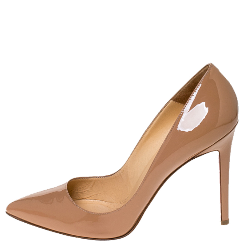 Christian Louboutin Beige Patent Leather Pigalle Pumps Size